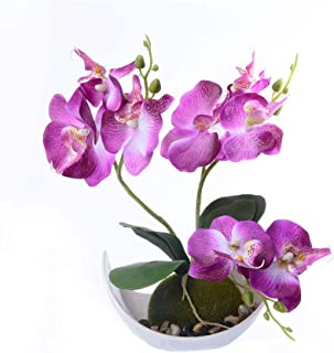 litymitzromq Artificial Flowers Outdoor Plants, Artificial Butterfly Orchid Bonsai Fake Flower with Trayfor for Home Indoor Garden Stage Office Wedding Restaurant Party Decoration Gift Purple