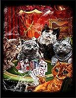 【ポーカーを楽しむ猫たち ねこ 猫】 余白部分にオリジナルメッセージお入れします!ポストカード・はがき(黒背景)