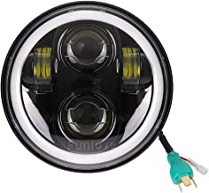 Funlove 5 3/4 5.75 Inch LED Headlight Halo with DRL for Harley Davidson Motorcycles