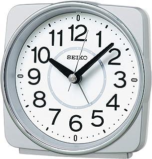 セイコークロック 置き時計 銀色メタリック 本体サイズ:10.8×11.0×6.0cm 目覚まし時計 電波 アナログ KR335S