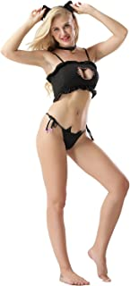 Vorifun Women Sexy Cosplay Lingerie Japanese Cute Anime Cat Kitten Keyhole Costume Outfit