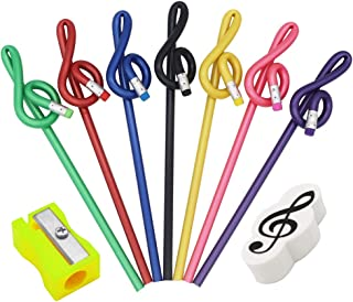 MOREYES Lápices para música Paquete de 7 Lápiz Clef Lápiz agudo con 1 borrador y 1 sacapuntas (7 paquetes)
