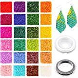 7200pcs Glass Seed Beads 2mm 12/0 Small Craft Beads Glass Pony Beads with Elastic Bracelet String Cord for DIY Bracelet Necklaces Crafting Jewelry Making Supplies(300Pcs Per Color, 24 Colors)