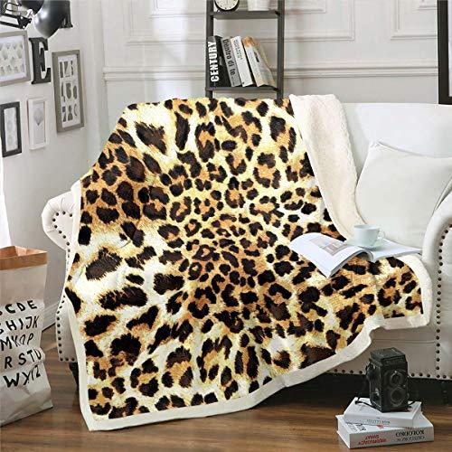 Manta de forro polar marrón con estampado de leopardo, para niños, hombre y mujer, manta de felpa de lujo de guepardo, para sofá, cama, bebé, 76 x 106 cm