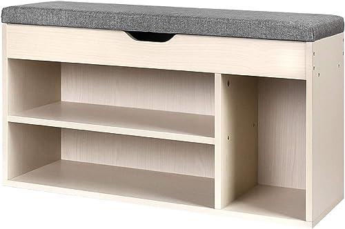 Artiss 9-Pair Shoe Rack Bench Wooden Shoe Storage Organiser Shelves, Natural
