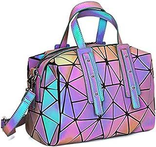 Women Geometric Luminous Handbags Shoulder Clutch Bag Satchel Messenger Tote Bags Purse for Girls