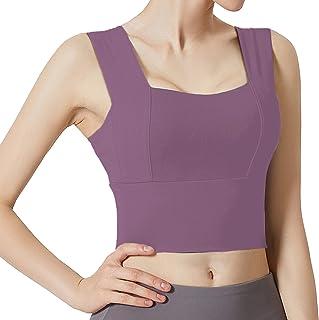 Auralto Sports Bra for Women Padded Longline Yoga Crop Tank Tops Fitness Workout Bralette Purple