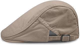 Zegoo Men's 100% Cotton Solid Ivy Summer Newsboy Hats with Buckle