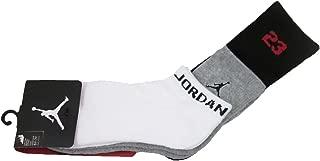 Boys Nike Air Jordan 3 Pack Socks 5Y - 7Y White Gray Black