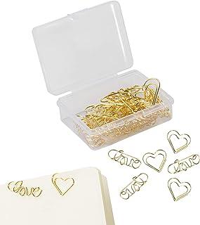 40 قطعة من مشابك ورقية على شكل قلب على شكل قلب مناسبة لعيد الحب، لوازم المكتب والمدرسة (ذهبي)