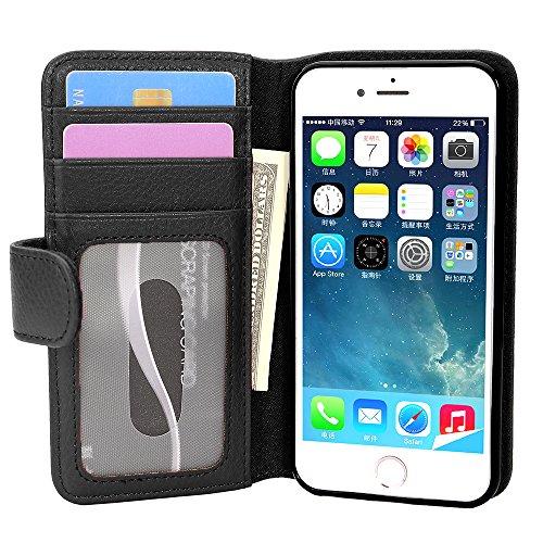 Cadorabo Funda Libro para Apple iPhone 7 / 7S / 8 / SE 2020 en Negro ÓXIDO - Cubierta Proteccíon con Cierre Magnético e 3 Tarjeteros - Etui Case Cover Carcasa
