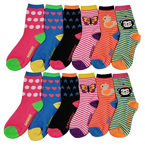 12 Pairs Pack Kids Girls Colorful Creative Fun Novelty Design Crew Socks (6-8, Daily)
