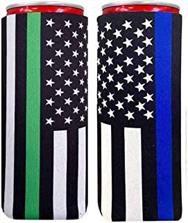 XccMe Neoprene Slim Can Sleeves Tow Color Flag Insulation Sleeve Soft Slim Can Cooler Insulators Fits for 12oz Energy Drink Red Bull White Claw and Seltzer Water (Blue +Green America Flag 2)