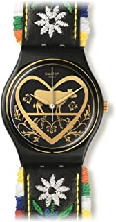 GB285 Die Glocke Black Dial Floral Embroidery Leather Women Watch NEW