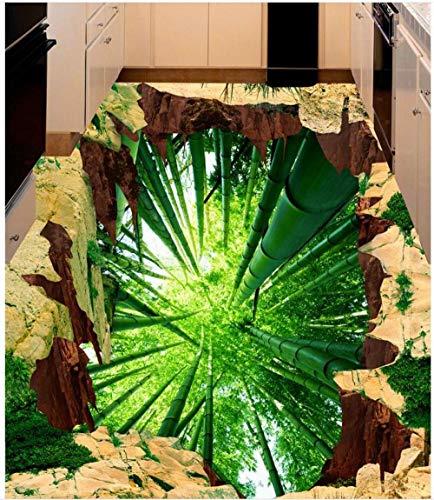 3D Boden Benutzerdefinierte Foto Boden 3D Tapete Moderne Kunst Bambus Wald 3D Bodenbelag PVC Tapeten Selbstklebende Boden Mural