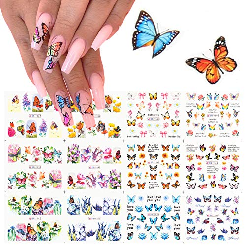Butterfly Nail Art Decals Sticker Nail Butterfly Flower Stickers Nails Design Supply Water Transfer Nail Decals Butterflies Nail Art Supplies DIY Manicure Accessories Foil Nail Art Designs (12 Pcs)