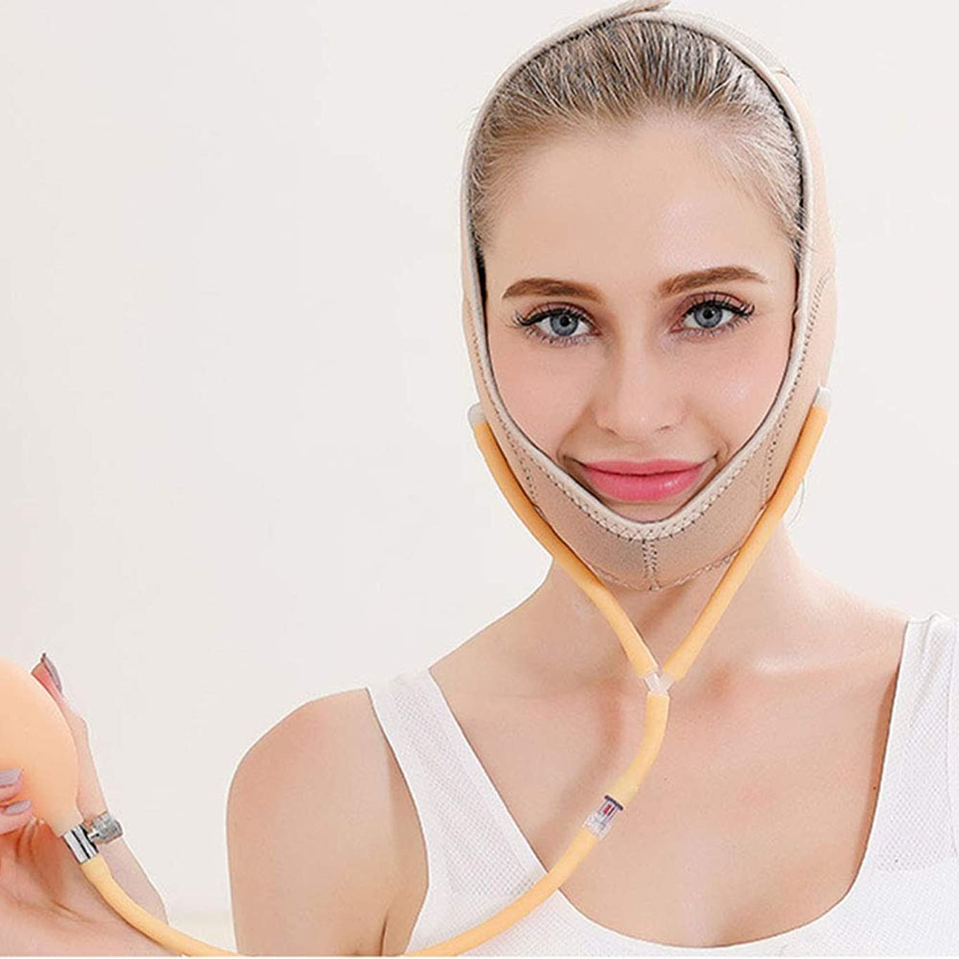 ディプロマシーボード描写小さなv顔睡眠包帯、ダブルバルーン圧縮シンダブルチンリフト引き締め顔アーティファクト,Flesh