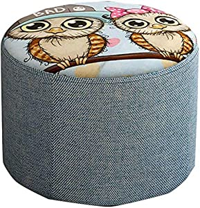 LAZNG Round Padded Pouf Ottoman Footrest Stool w/Removable Linen Cover