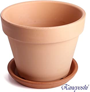 鉢 三河焼 KANEYOSHI 【日本製/安心の国産品質】 陶器 植木鉢 素焼き鉢 7号 【受皿付き】イタリー受皿 21cm
