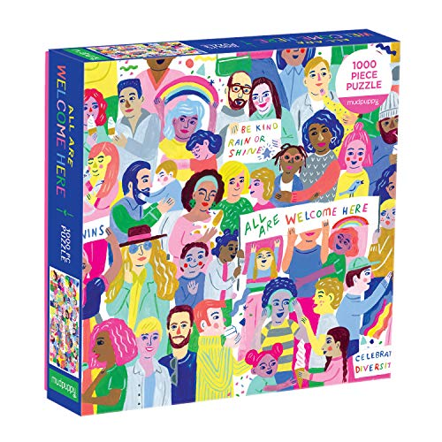 """Galison All are Welcome Here Jigsaw Puzzle, 1000 Pieces, 27"""" x 20"""" – Ages 8+ – Colorful Illustrated Celebrating Diversity and Kindness – Fun and Challenging, Family Puzzle – Fun Indoor Activity"""
