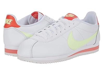 Nike Classic Cortez Leather (White/Barely Volt/Flash Crimson) Women