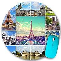 KAPANOU ラウンドマウスパッド カスタムマウスパッド、パリのエッフェル塔やその他の有名な場所やパリのランドマークの美しい写真、PC ノートパソコン オフィス用 円形 デスクマット 、ズされたゲーミングマウスパッド 滑り止め 耐久性が 200mmx200mm