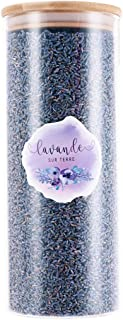 D'vine Dev 8 Cups Ultra-Blue Grade Culinary Lavender in Large Glass Bottle - Highland Grow Dried Lavender Flower Buds with Easy Resealable Huge Glass Bottle - by Lavande Sur Terre