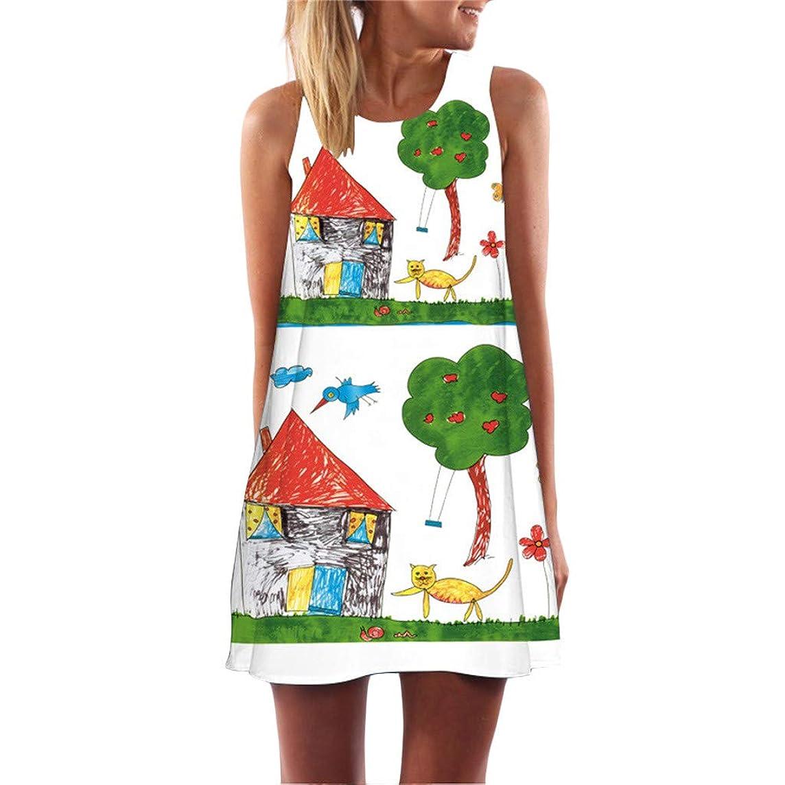 Sagton Fun Summer Dresses for Women Crew Neck Printed Sleeveless Casual Tunic Tops Summer Swing Tee Shirt Dress