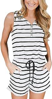 YIBOCK Women Summer Sleeveless Button Down Striped Short...