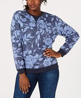 Batik-Print Sweatshirt, Size M Blue