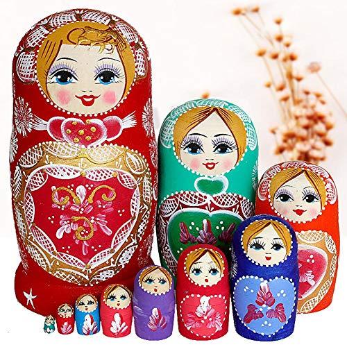 Matroesjka Pop 10 Stks/Set Creatieve Mooie Baby Kerst Nesten Poppen Russische Pop Houten Handgemaakte Beschilderde Beuken Set Speelgoed