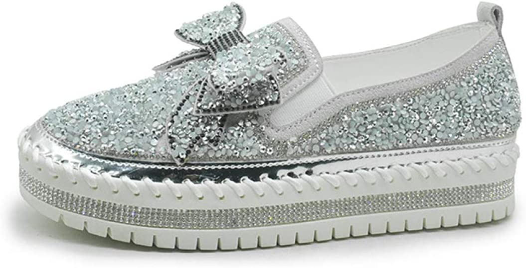 CYBLING Women's Fashion Flatform Rhinestone Bowknot Spring new work Loafers Superlatite Slip