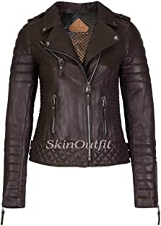 SKINOUTFIT Women's Leather Jackets Motorcycle Biker Genuine Lambskin Dark Brown