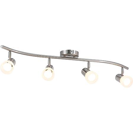 XiNBEi Lighting Track Lighting, 4 Light S-Shaped Track Light Bar with Glass, Modern Kitchen Ceiling Light Bar Brushed Nickel XB-TR1238-4-BN