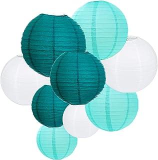 ARDUX 9Pcs/lot - Farolillos de papel de seda chinos para Fiesta, aniversario, cumpleaños, boda, techo, fiesta, regalos, decoración para colgar Set of 9 Green Style