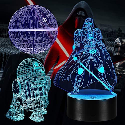 Star Wars 3D Illusion Lampe Geschenke Nachtlicht Spielzeug, 16 Farbwechsel mit Fernbedienung oder Touch, Besten Geschenke für Kinder Fans Herren Jungen