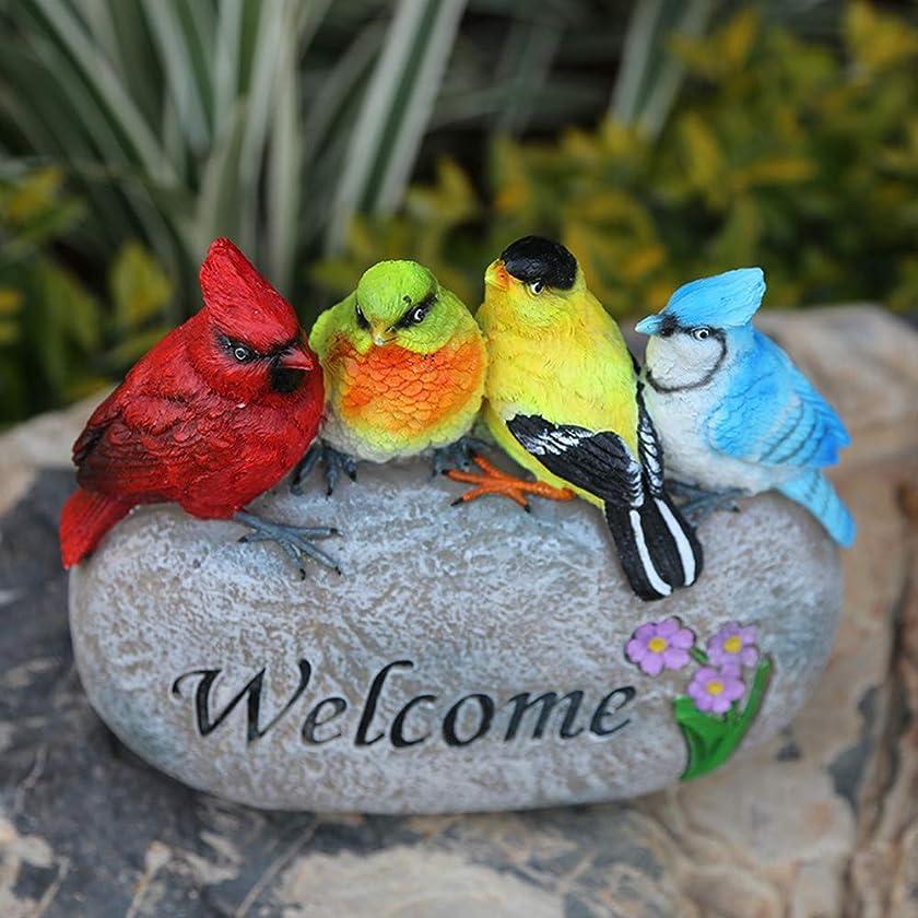 ChuXing Resin Small Birds Welcome Sign Bird Figurine Statue Garden Decor, 8.5 Inch