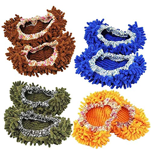 4 Pairs Dust Mop Slippers,Cute Microfiber Multi-Function Shoes Covers Floor Cleaning Tools Foot Socks Caps Hair Cleaner for House Office Kitchen Bathroom Bedroom (Set 2)