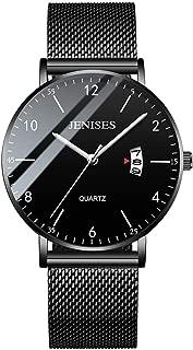 Fashion Men Watches Minimalist Quartz Analog Wristwatch Stainless Steel Mesh Band Classic Waterproof Chronograph Date