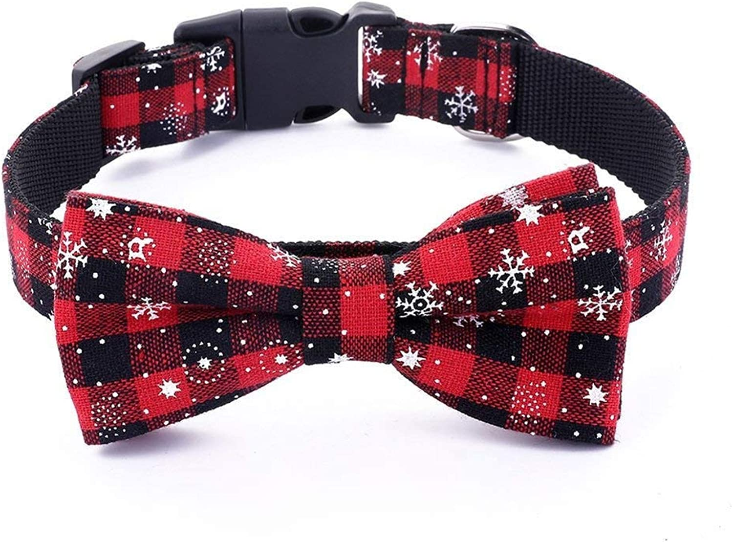 Albabara Christmas Dog Cat Collar with Bow Tie Adjustable 100% Cotton Nylon Design Cute Adorable for Large Medium Small Dogs and Cats