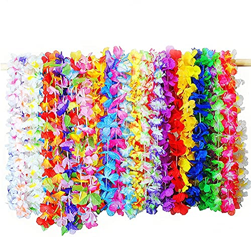 Juego de 36 collares hawaianos multicolor con flores de tela hawaianas, juego para fiestas, playa y cumpleaños temáticos