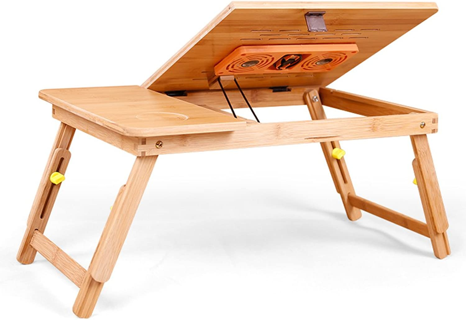 Laptop Table with Fan for Sofa and Bed, Bamboo Portable Multipurpose Folding Desk