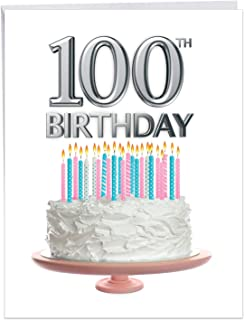 Big Day 100 - Beautiful Milestone 100th Birthday Card with Envelope (Large 8.5 x 11 Inch) - White Cake with Candles - Happy Bday Congrats Greeting Card for Grandparents, Parents, Elderly J7060LMBG