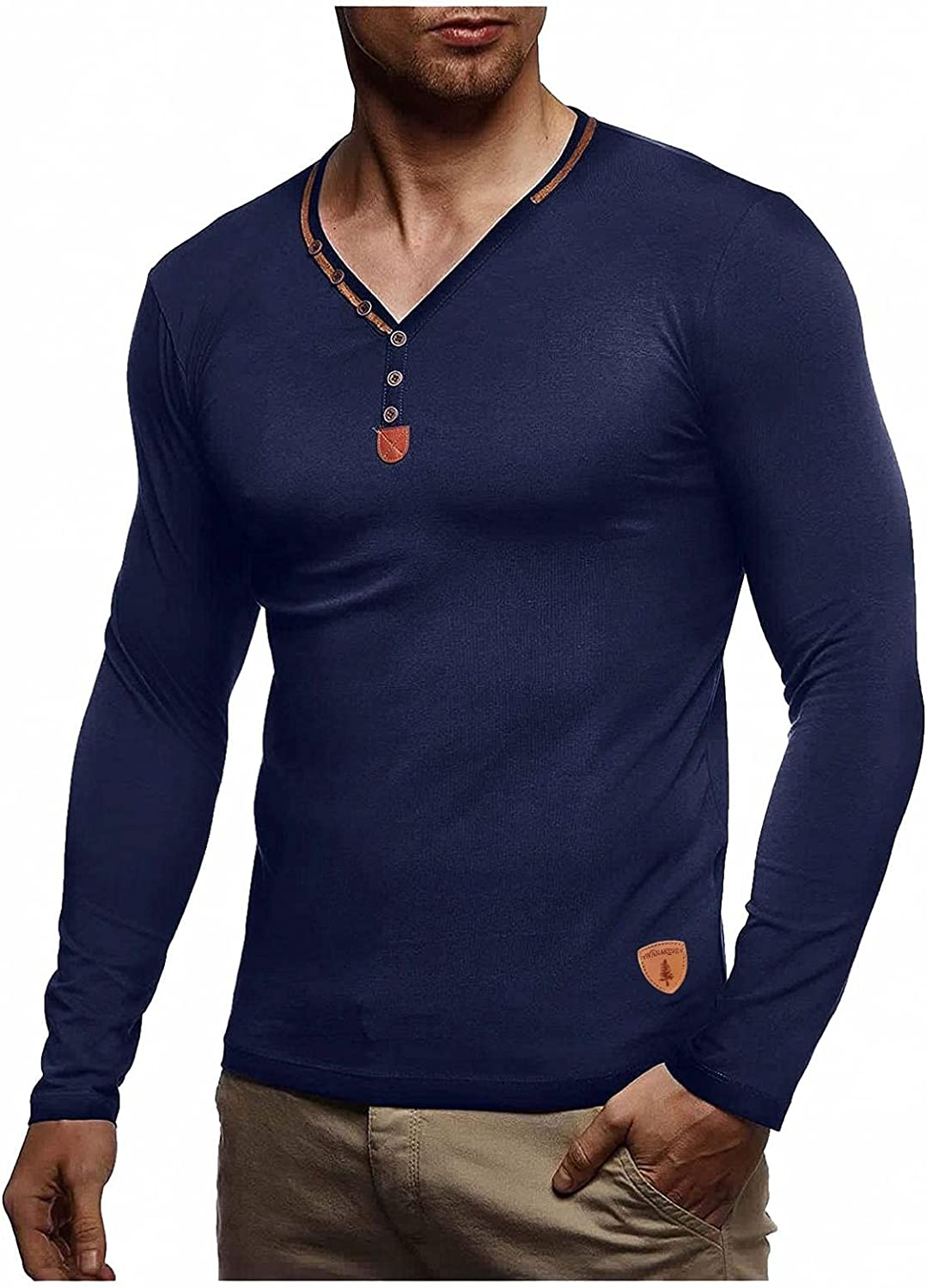 Shirts for Men Men's Autumn Winter Multi-Button Standard Solid Color V-Neck Long-sleeve Tee Mens Shirts Polo Mens Shirts