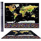 Mappa da grattare del mondo con bandiere Viaggi Qualità Premium poster da parete idea regalo mappamondo Scratch off Map Cartina