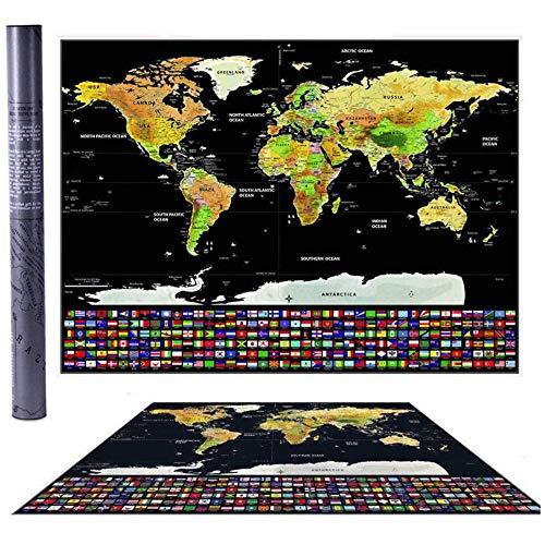Mappa del mondo da grattare con bandiere Viaggi Qualità Premium poster da parete idea regalo mappamondo Scratch off Map Cartina internazionale