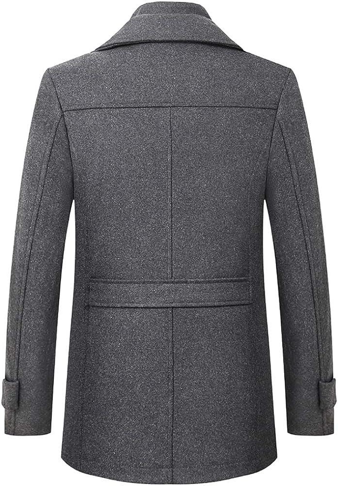 ajuste regular gabardina de un solo botonadura FAXIKIO Abrigo de lana c/álido para hombre de invierno de negocios