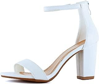 Guilty Heart Womens Ankle Strap Chunky Block High Heel Zipper Closure - Party Dress Open Toe Sandals