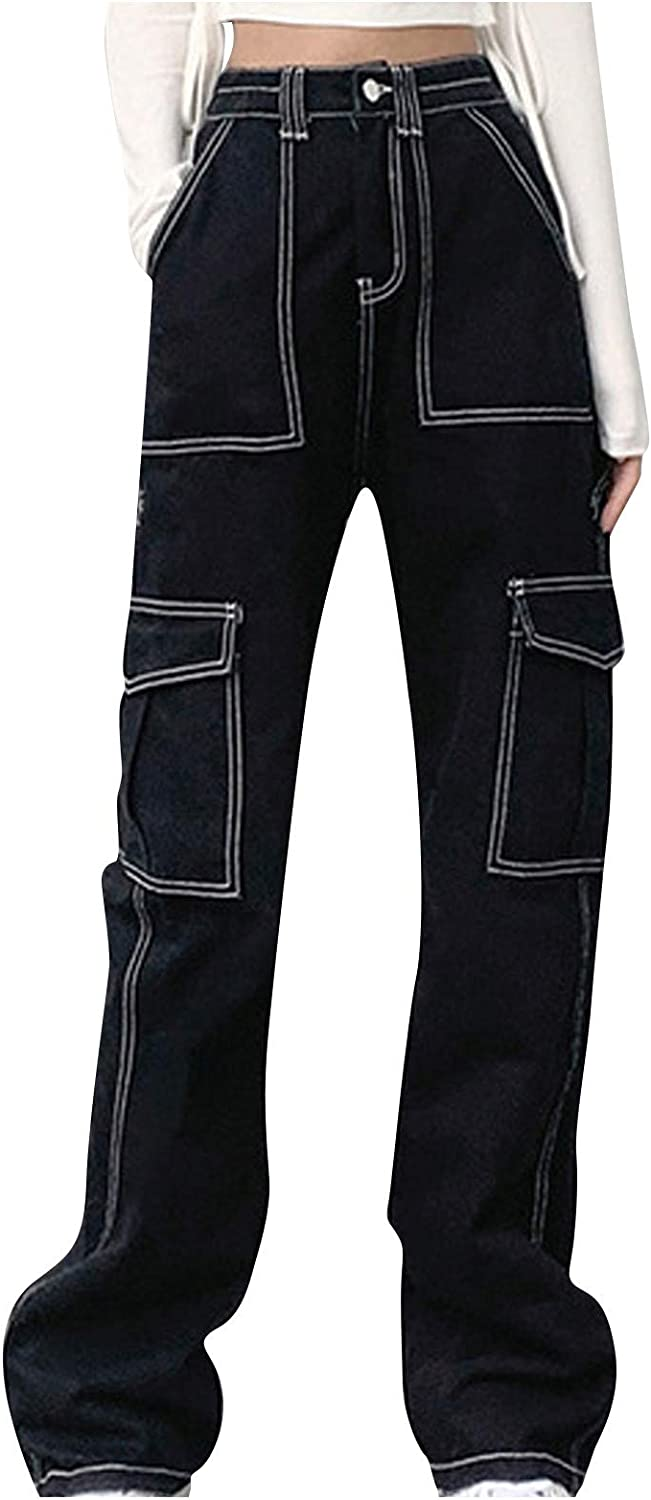 MASZONE Y2K Fashion Pants for Women High Waisted Wide Leg Heart-Print Pants Straight Denim Jeans Casual Baggy Trousers