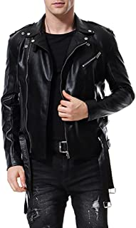 AOWOFS Men's Faux Leather Jacket Double Belt Punk Motorcycle Zip Slim Fit